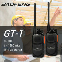 US 2Pcs Baofeng GT-1 Two-way Ham Radio FM Walkie Talkie 1500mAh Battery> BF-888s