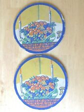 """1933 World'S Fair Chicago 2 Large Coaster For Pitcher 7"""" Wide Fruit Bowl"""