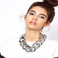 Statement Chain Pendant Necklace Bib Choker Women Jewelry Acrylic Chunky UK