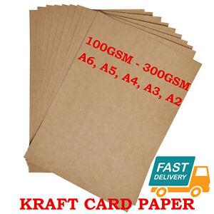 A6 A5 A4 A3 A2 100GSM - 300GSM BROWN KRAFT CARD CRAFT RECYCLED ECO PRINTER PAPER