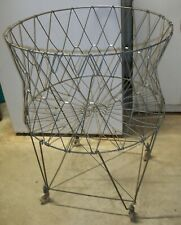 VINTAGE MID-CENTURY COLLAPSIBLE FOLDING WIRE LAUNDRY BASKET / CART W/ CASTERS