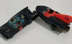 Husky, Vintage,  1960 Batmobile with Batman and Robin, and Batboat and Trailer,
