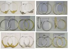 A-003    Wholesale Lot 10 Pair Large Hoop Earrings Gold and Silver Plated