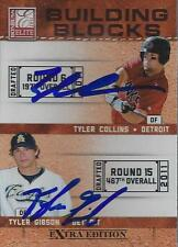 Tyler Collins Tyler Gibson Detroit Tiger 2011 Panini Building Blocks Signed Card