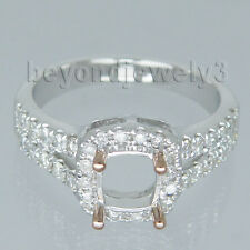 18kt Two Tone Gold Cushion 5.5mm Diamond Semi mount Engagement Wedding Ring