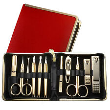 Three Seven 777 TS-950G Gold Plated Nail Clipper Grooming Kit Set Travel case