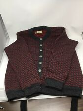 L.L. Bean Men's Wool Cardigan Sweater Charcoal Gray Red Large Made In Norway OSU