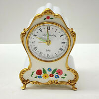 Vintage La Clocke Wind Up Small White Mantel Clock With Musical Alarm