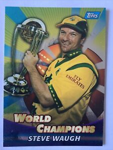 STEVE WAUGH (AUSTRALIA) TOPPS CRICKET WORLD CHAMPIONS TRADING CARD 🏏