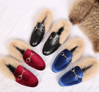 Womens Suede Slippers Loafers Casual Mules Fur Lined Shoes Slides Flats lf20