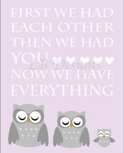 Purple And Gray Owl Nursery Print, Girl Woodland Nursery Decor -8x10