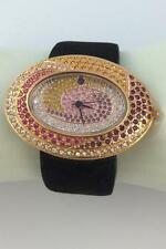 UNWORN SUZANNE SOMERS MULTI-COLOR CRYSTAL SWIRLS OVAL WATCH BLACK LEATHER BAND
