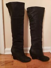 d70b808e3a6 ASH Pearl Black Leather Zip Over the Knee Wedge Boots Zip Size 37.5 7.5