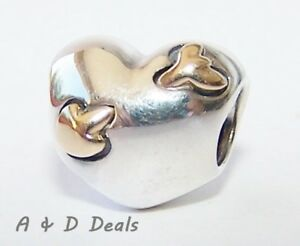 Pandora Genuine Sterling Silver 14ct Gold Heart  Gold Arrow Charm#791171 RETIRED
