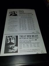 The Fixx/Treat Her Right Rare Original Radio Promo Poster Ad Framed!