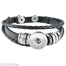 1 Bracelet Breloque Multilayer Cuir PU Noir pr Bouton Pression DIY 21cm