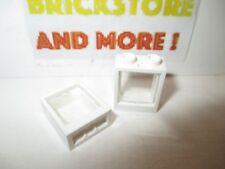 Lego - 2x Window Fenêtre 1x2x2 60592 White Frame + 2x 60601 Trans Clear Glass