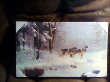 Wolves Winter Scene - Led Lighted Canvas Print 20 x12 with on/off Switch New