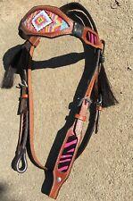 Pink beaded/zebra striped w/horse hair tassel brown Western browband headstall