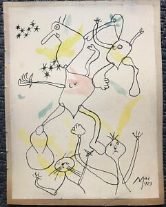 JOAN MIRO'  watercolors and ink on paper laid dawn on cardboard signed