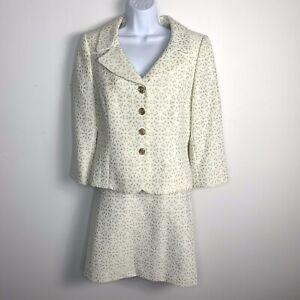 Tahari Women Blazer Skirt Suit Sz 8 Ivory Eyelet 4 Button Jacket Pencil XT67