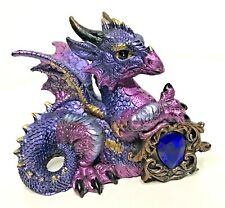 Mythical Purple & Blue Dragon Figurine Statue with Blue Stone