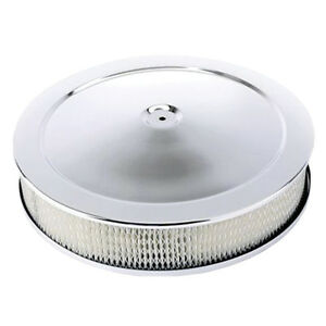 14in Chrome Air Cleaner Recessed Base with Filter GM Mopar Ford Chevy Dodge GTO