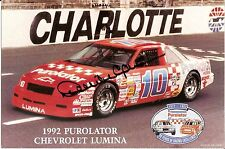 1992 DERRIKE COPE signed NASCAR PHOTO CARD POSTCARD PUROLATOR CHEVY LUMINA wCOA