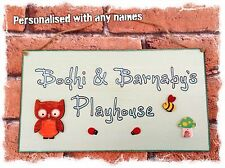 Outdoor Childrens Playhouse Wooden Sign Plaque PERSONALISED with Childs Name OWL