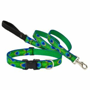 """NEW Tail Feathers Green Blue Dog Collar or Leash 1"""", 3/4"""" or 1/2""""  by Lupine"""