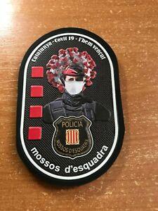 SPAIN PATCH POLICE MOSSOS D ESQUADRA BARCELONA VIRUS PROTECTION - ORIGINAL!