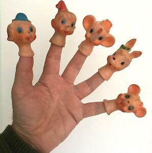 Five 50s rubber animal finger puppets. Vintage puppet heads.