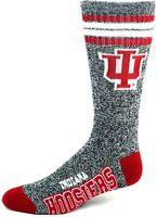 Indiana Hoosiers NCAA Four Stripe Quarter Socks Heather Gray Red