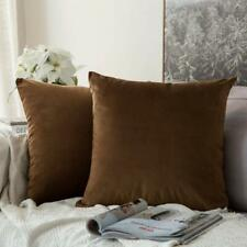 Velvet Cushion Cover, 16x16 Brown Pack of 1 Free Shipping