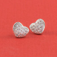 White Gold Filled Silver Toned Heart Stud Earrings Made With Swarovski Crystal