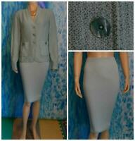 ST. JOHN Collection Knits Blue Jacket New Skirt L 10 12 2pc Suit Buttons Pockets