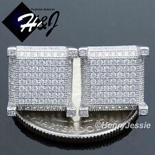 MEN 925 STERLING SILVER 11X11MM LAB DIAMOND ICED SCREW BACK 3D STUD EARRING*E85