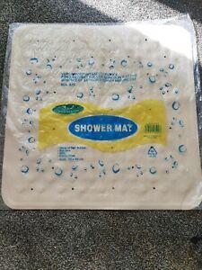Brand New Large 55x55cm Soft Rubber Grip Suction Non-Slip Bath Shower Mat Cream