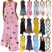 Ladies Women Sleeveless Bohemia Kaftan Long Maxi Dress Beach Party Sundress Plus