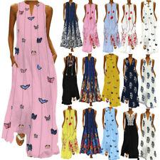 Women Sleeveless Bohemia Kaftan Long Maxi Dress Beach Party Sundress Plus