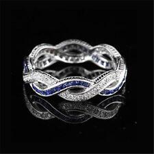 Women Blue Sapphire 925 Silver Infinity Wedding Man Jewelry Gift Ring Size 5-10