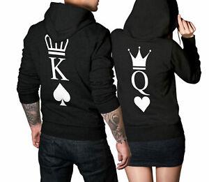 King Queen Pärchenpullover schwarz mit Herz Pik Aufdruck