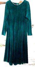 Vintage Fads Womens Dress L Maxi Velour Green Long Sleeve Lagan Look Costume