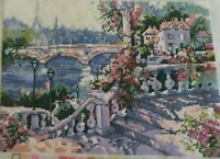 """Finished Dimensions Needlepoint Canvas FRENCH RIVER BANK w/ FLOWERS 14""""x 10"""""""