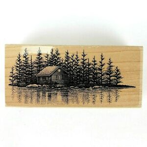 """Stampscapes Cabin In The Woods Next To Lake Rubber Stamp 1996 4-1/2"""" x 2-1/4"""""""