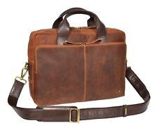 Mens Genuine Leather Vintage Tan Briefcase Cross Body Office Organiser Satchel
