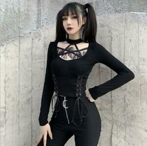 Womens Punk Eyelets Lace Up Halter choker Long Sleeves Slim Fit T-Shirt Top SKGB