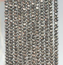 """4X3MM HEMATITE GEMSTONE PYRITE TONE FACETED RONDELLE 4X3MM LOOSE BEADS 16"""""""