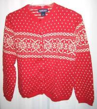 Lands End Red Pattern Long Slv Girls Cardigan Sweater M