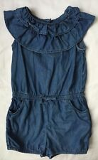 Gap One Piece Jumper Girls Size 5 Blue Denim Ruffle Collar